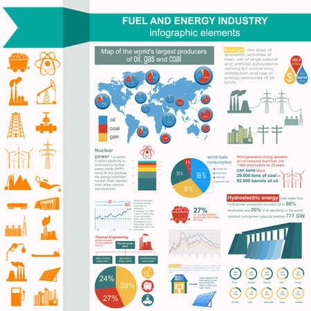 Fuel and energy industry infographic, set elements for creating your own infographics. Vector illustration Vector