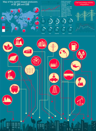 thermal pollution: Fuel and energy industry infographic, set elements for creating your own infographics. Vector illustration