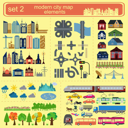 city view: Modern city map elements for generating your own infographics, maps. Vector illustration