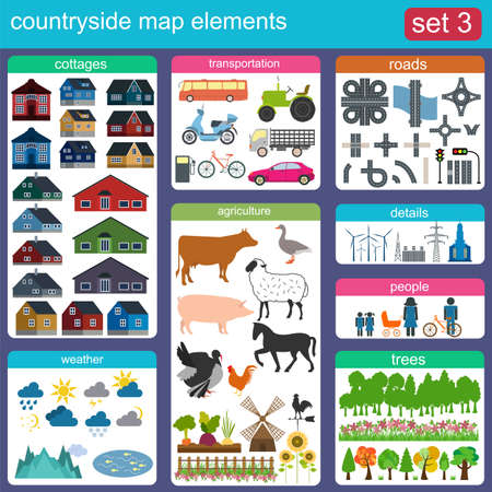 contryside: Contryside map elements for generating your own infographics, maps. Vector illustration