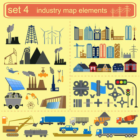 Industry map elements for generating your own infographics, maps.  Vector
