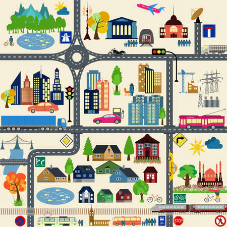 Modern city map elements for generating your own infographics, maps.  Illustration