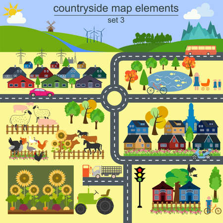 Contryside map elements for generating your own infographics, maps.  Vector