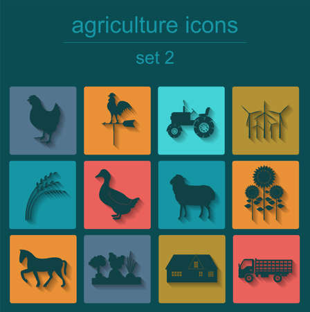 husbandry: Set agriculture, animal husbandry icons. Vector illustration Illustration