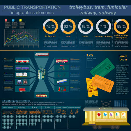 trolleybus: Public transportation infographics. Tram, trolleybus; subway. Vector illustration Illustration