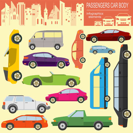 car transportation: Passenger car, transportation infographics.