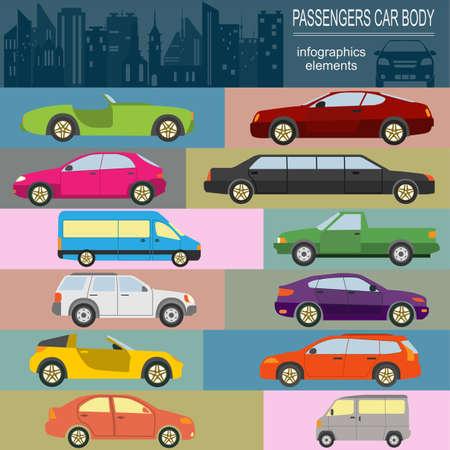 hatchback: Passenger car, transportation infographics.