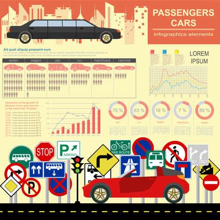 car transportation: Autom�viles de turismo, infograf�as transporte. Vectores
