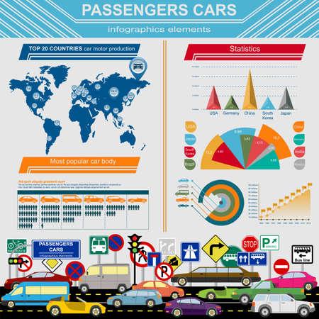 car transportation: Autom�viles de turismo, infograf�as transporte. Ilustraci�n vectorial