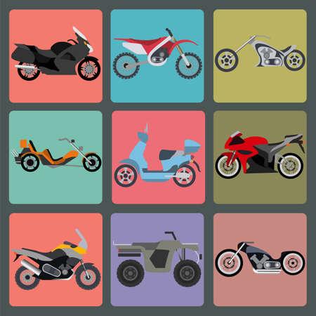 atv: Set of nine icons of motorbikes illustration