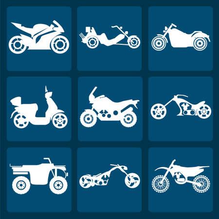 cruiser bike: Set of nine icons of motorbikes illustration