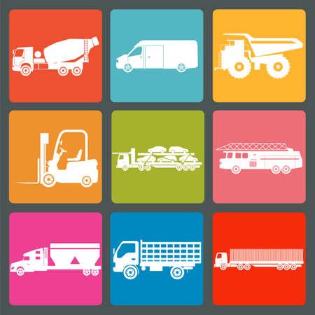 flatbed truck: Set of nine icons of trucks illustration Illustration