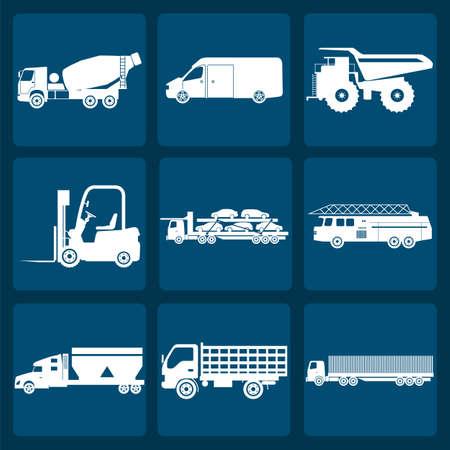 camion grua: Conjunto de nueve iconos de camiones ilustraci�n