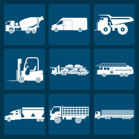 truck tractor: Set of nine icons of trucks illustration Illustration