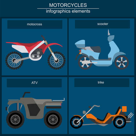 Set of elements motorcycles for creating infographics or maps illustration Illustration