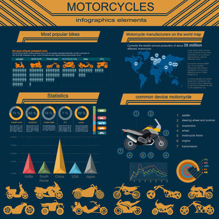 road ring: Set of motorcycles elements, transportation infographics.  Vector illustration Illustration