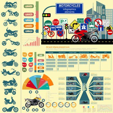 Set of motorcycles elements, transportation infographics illustration