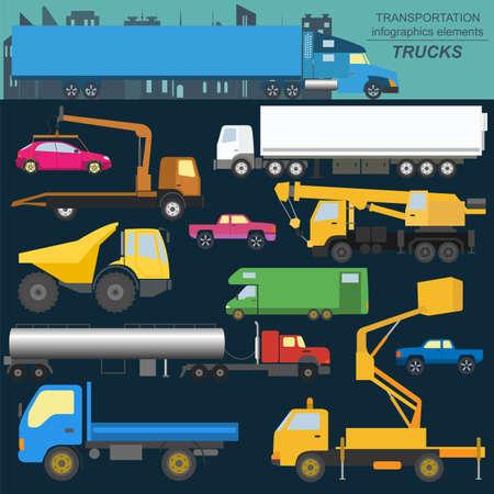 flatbed truck: Set of elements cargo transportation