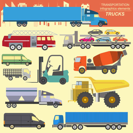 Set of elements cargo transportation Vector