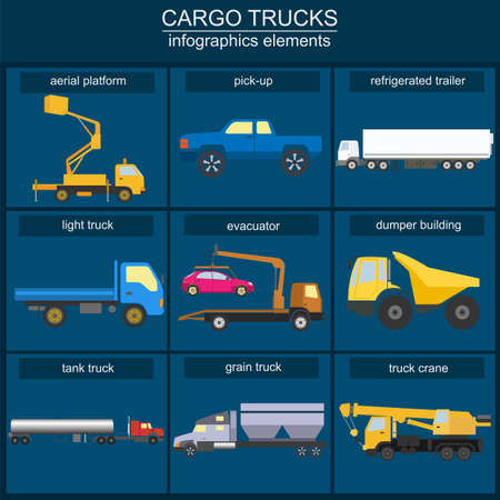 flatbed truck: Set of elements cargo transportation: trucks, lorry for creating your own infographics or maps. Vector illustration Illustration