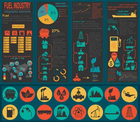 industry: Fuel industry infographic, set elements for creating your own infographics. Vector illustration