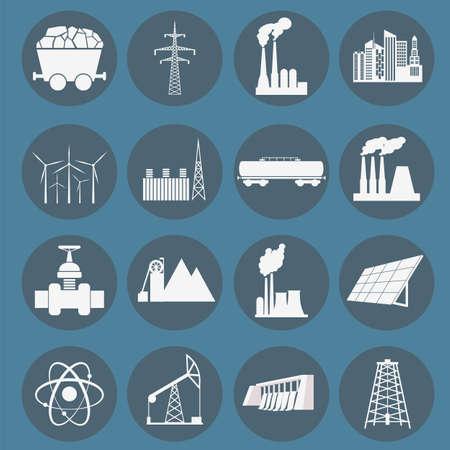 thermal power plant: Establecer 16 de combustible y energ�a iconos. Ilustraci�n vectorial