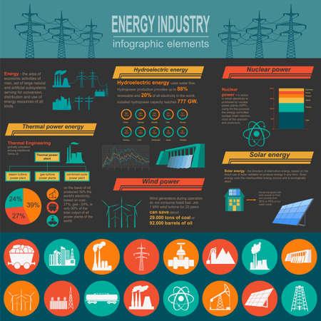 industria quimica: Combustible y la industria energética infografía, el conjunto de elementos para crear sus propias infografías. Ilustración vectorial Vectores