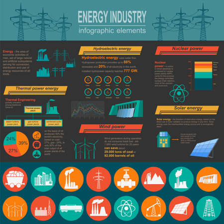 coal: Fuel and energy industry infographic, set elements for creating your own infographics. Vector illustration