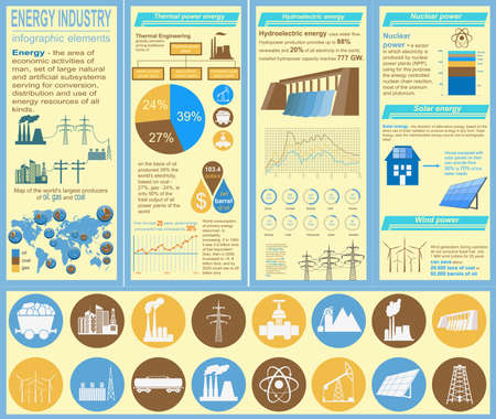 thermal power plant: Fuel and energy industry infographic, set elements for creating your own infographics. Vector illustration