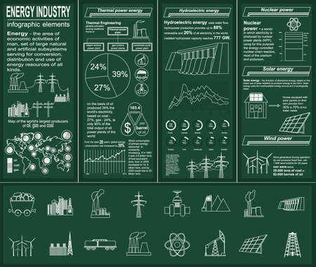 Fuel and energy industry infographic, set elements for creating your own infographics. Vector illustration