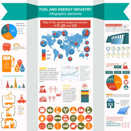 gaseous: Fuel and energy industry infographic, set elements for creating your own infographics. Vector illustration