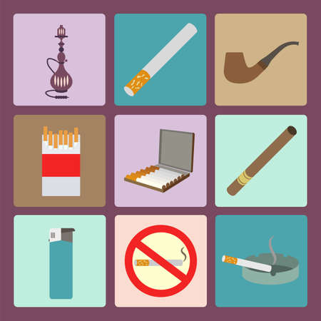 smoking stop: Smoking and accessories icons set. Vector illustration