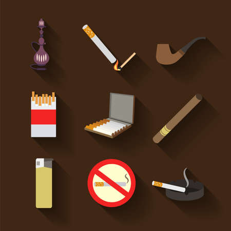 ashtray: Smoking and accessories icons set. Vector illustration