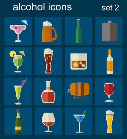 Alcohol drinks icons. 16 flat icons set. Vector illustration Vector