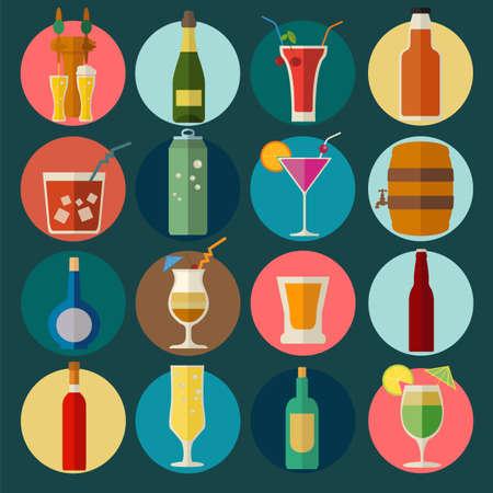 El alcohol bebe iconos. 16 iconos planos establecidos. Ilustración vectorial Ilustración de vector