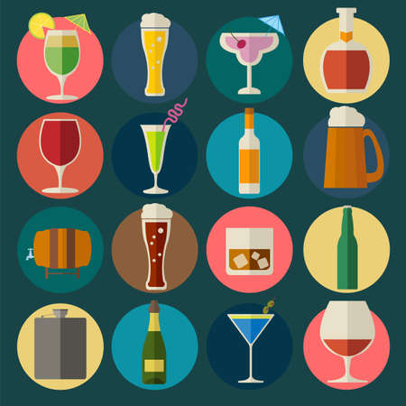 drinking alcohol: Alcohol drinks icons. 16 flat icons set. Vector illustration