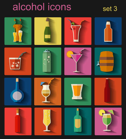 alcoholic drink: Alcohol drinks icons. 16 flat icons set. Vector illustration