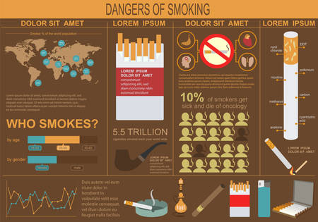 no smoking: Dangers of smoking, infographics elements. Vector illustration