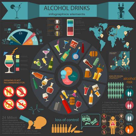 Alcohol bebidas infografía. Ilustración vectorial