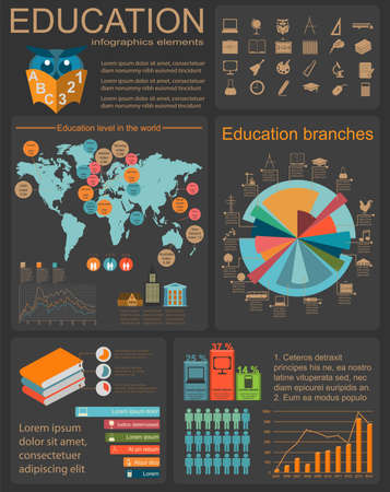 diplomat: Education school infographics. Set elements for creating your own infographics. Vector illustration