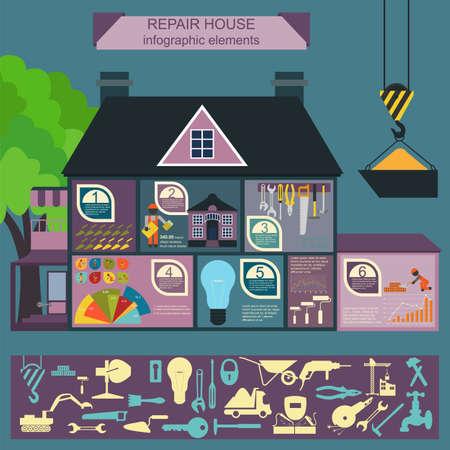 House repair infographic, set elements. Vector illustration Vector
