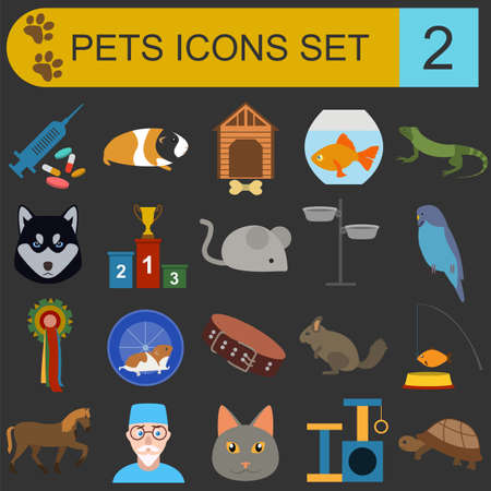 Domestic pets and vet healthcare flat icons set. Vector illustration Vector