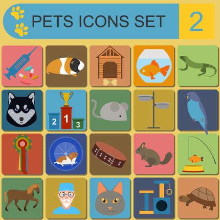 huskies: Los animales dom�sticos y los iconos planos sanitarios veterinario establecidos. Ilustraci�n vectorial