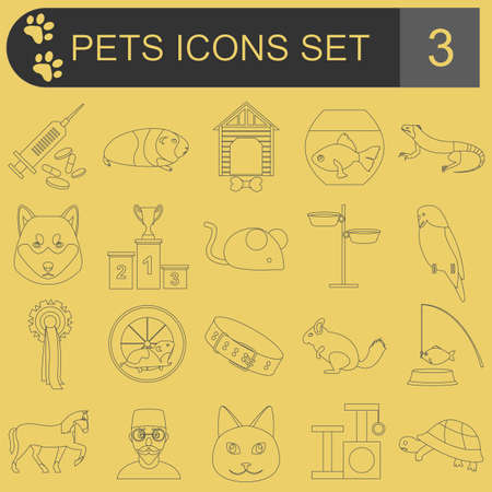 huskies: Domestic pets and vet healthcare flat icons set. Vector illustration