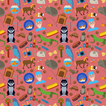 Domestic pets background. Pattern. Vector illustration Vector