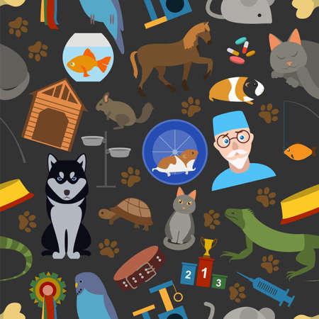 huskies: Domestic pets background. Pattern. Seamless. Vector illustration
