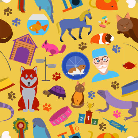 Domestic pets background. Pattern. Seamless. Vector illustration Vector