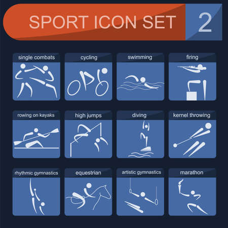 Sport icon set. Flat style. Vector illustration Vector