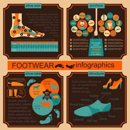 Footwear infographics elements. Easily edited. Vector illustration