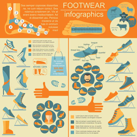 footwear: Footwear infographics elements. Easily edited. Vector illustration